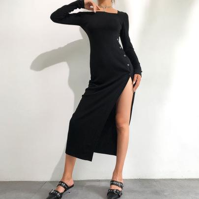 Irregular Sexy Slanted Shoulder Split High Waist Mid-length Dress Nihaostyles Clothing Wholesale NSXPF75152