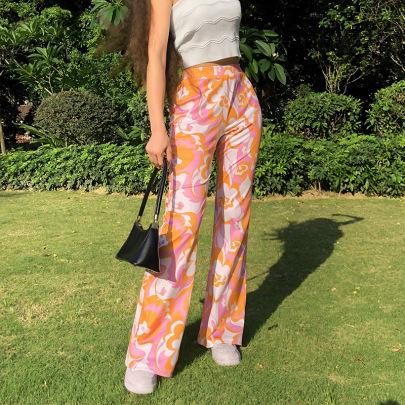 Flower Print Hit Color High Waist Trousers Nihaostyles Clothing Wholesale NSXPF75161