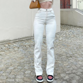 Solid Color High Waist Buttocks Straight Leg Jeans Nihaostyles Clothing Wholesale NSXPF75176