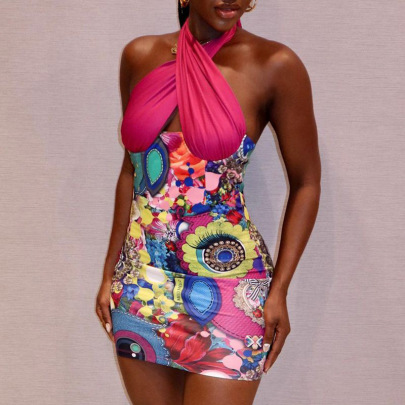 Women's Printing Stitching Halter Solid Color Dress Nihaostyles Clothing Wholesale NSRUI75199
