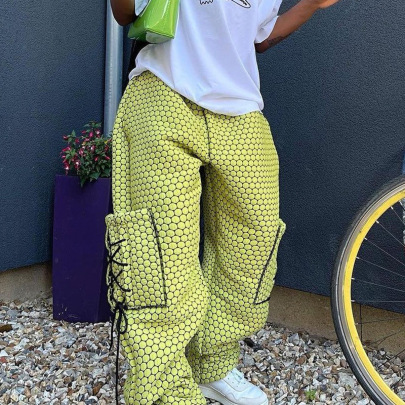 Women's Lace Pocket Loose Woven Trousers Nihaostyles Clothing Wholesale NSRUI75201