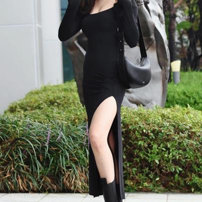 Sexy Slim Square Neck Split Long Dress Nihaostyles Wholesale Clothing Vendor NSSSN75214