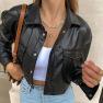 Pu Imitation Leather Loose Single-breasted Jacket Nihaostyles Wholesale Clothing Vendor NSSSN75218