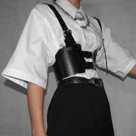 Women's Strap-style Girdle Punk Style PU Leather Sling Vest Nihaostyles Clothing Wholesale NSSSN75244