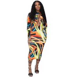 Women's Printed Long Sleeve Dress Nihaostyles Clothing Wholesale NSYC75271