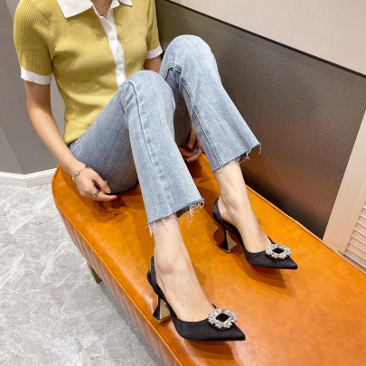 Pointed Toe Square Buckle Rhinestone Shallow Sandals Nihaostyles Wholesale Clothing Vendor NSCA75279