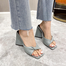 Folds Stiletto High Heels Square-toe Slippers Nihaostyles Wholesale Clothing Vendor NSCA75281