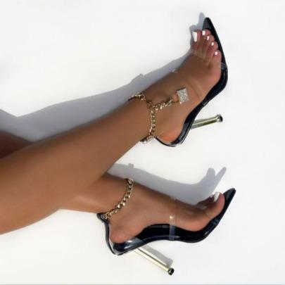 Chain Rhinestone Pointed Stiletto Sandals Nihaostyles Wholesale Clothing Vendor NSCA75284