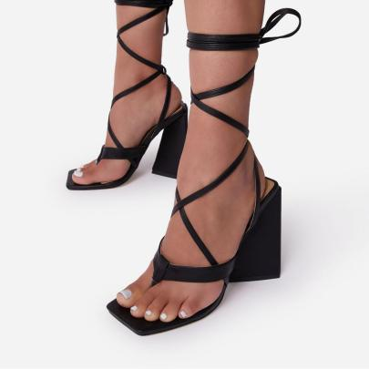 Thick Super High Heel Square Toe Sandals Nihaostyles Wholesale Clothing Vendor NSCA75285