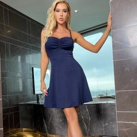 Women's Sling Halter V-neck Lace Halter Dress Nihaostyles Clothing Wholesale NSXPF75293