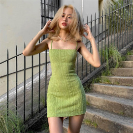 Women's Pure Color Sexy Sling Short High Waist Dress Nihaostyles Clothing Wholesale NSXPF75294