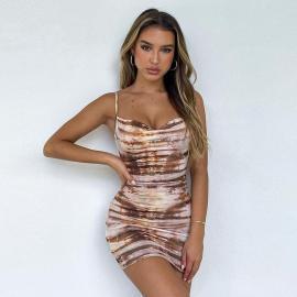 Women's Sling Low-cut Backless Printed Dress Nihaostyles Clothing Wholesale NSXPF75296