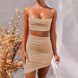 Women's Folds Low-cut Camisole Two-piece Irregular Skirt Two Piece Set Nihaostyles Clothing Wholesale NSXPF75299