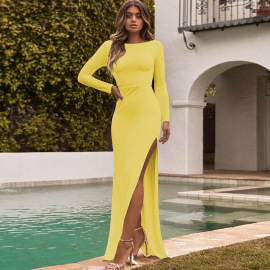 Women's Halter Split Long Sleeves Dress Nihaostyles Clothing Wholesale NSXPF75300