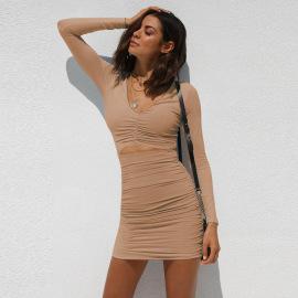 Women's Long-sleeved V-neck Slim Dress Nihaostyles Clothing Wholesale NSXPF75302