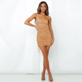 Women's One-shoulder Sleeveless Silk Pleated Dress Nihaostyles Clothing Wholesale NSXPF75304