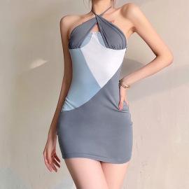 Women's Slim High Waist Bandage Halter Neck Dress Nihaostyles Clothing Wholesale NSXPF75308