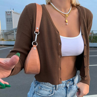 Brown V-neck Slim Short Knit Cardigan Nihaostyles Wholesale Clothing Vendor NSSSN75379