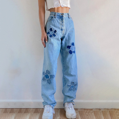 Flower Pattern Stitching Contrast Color High-waist Straight-leg Pants Nihaostyles Wholesale Clothing Vendor NSSSN75380