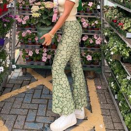 Green Flower Pattern Contrast Printing Straight-leg Pants Nihaostyles Wholesale Clothing Vendor NSSSN75383