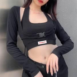 Hollow T-shirt Long Sleeve Top Two-piece Set Nihaostyles Wholesale Clothing Vendor NSSSN75389