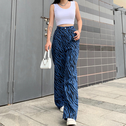 Blue Loose Cotton High Waist Jeans Nihaostyles Wholesale Clothing Vendor NSSSN75392