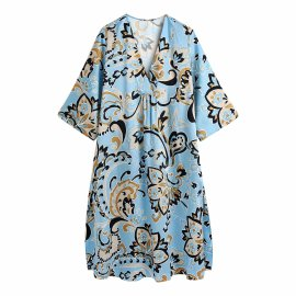 Print Bouquet Waist Shirt Dress Nihaostyles Wholesale Clothing Vendor NSAM75403