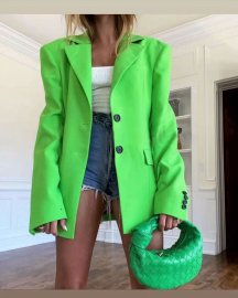 Fluorescent Green Back Split Loose Blazer Nihaostyles Wholesale Clothing Vendor NSAM75404