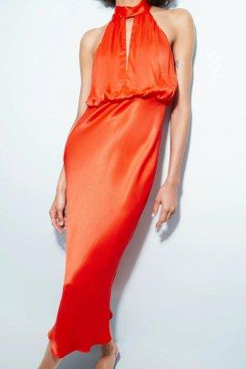Fashion Long  Silk Satin Texture Dress Nihaostyles Wholesale Clothing Vendor NSAM75405