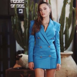 Fashion Slim Double-breasted Blue Blazer Nihaostyles Wholesale Clothing Vendor NSAM75408