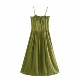 Silk Satin Texture Drape Suspender Dress Nihaostyles Wholesale Clothing Vendor NSAM75418