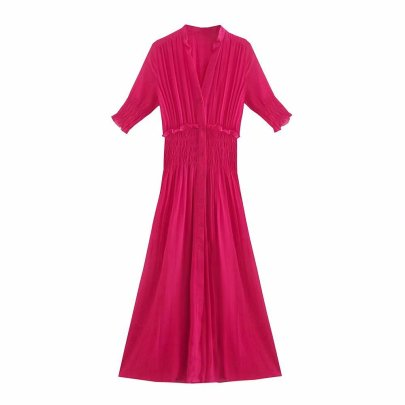 Small Pleated Slimming Dress Nihaostyles Wholesale Clothing Vendor NSAM75425