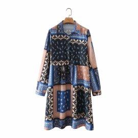 Printing Stitching Long-sleeved Collar Shirt Dress Nihaostyles Wholesale Clothing Vendor NSAM75427
