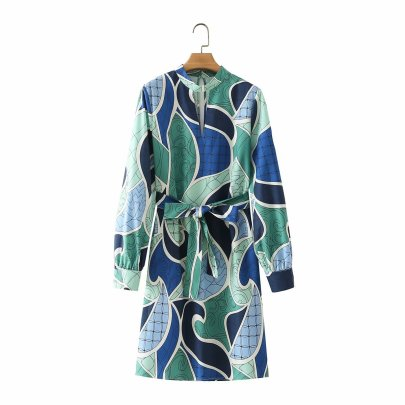 Geometric Printing Stand-up Collar Tie Dress Nihaostyles Wholesale Clothing Vendor NSAM75428