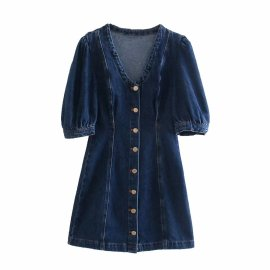 Mini Denim Dress Nihaostyles Wholesale Clothing Vendor NSAM75436