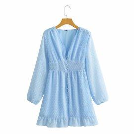 New Waist V-neck Long Sleeve Single-breast Button Dress Nihaostyles Wholesale Clothing Vendor NSAM75449