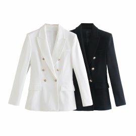 Double-breasted Slim Blazer Nihaostyles Wholesale Clothing Vendor NSAM75455