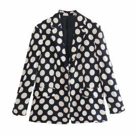 Polka Dot Loose Blazer Nihaostyles Wholesale Clothing Vendor NSAM75464