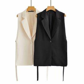 Solid Color Split Vest Blazer Nihaostyles Wholesale Clothing Vendor NSAM75468