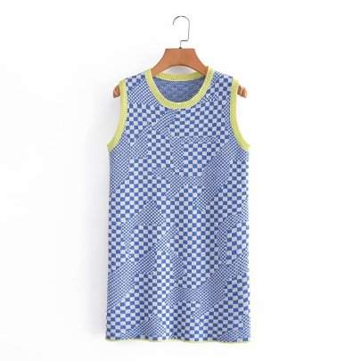 Knitted Round Neck Color Check Dress Nihaostyles Wholesale Clothing Vendor NSAM75469