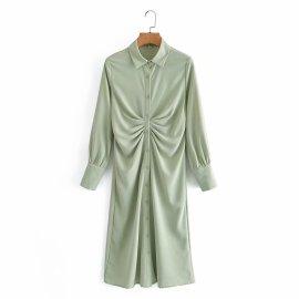 Light Green Chest Fold Design Lapel Shirt Dress Nihaostyles Wholesale Clothing Vendor NSAM75471