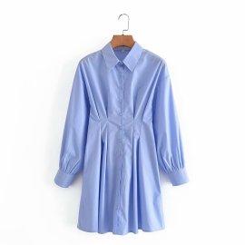 Blue Slim Shirt Dress Nihaostyles Wholesale Clothing Vendor NSAM75473