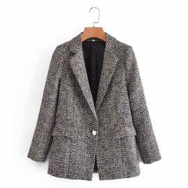 New Gray Gold Silk Slim One-button Small Blazer Nihaostyles Wholesale Clothing Vendor NSAM75476