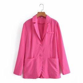Solid Color Loose Blazer Nihaostyles Wholesale Clothing Vendor NSAM75477