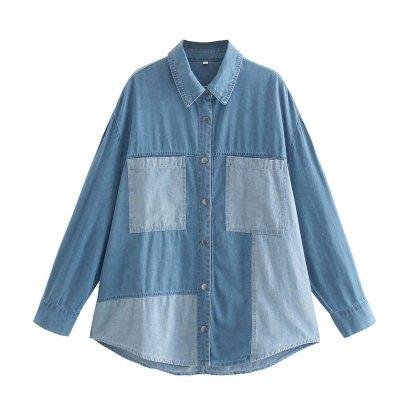 Color Matching Denim Jacket Nihaostyles Wholesale Clothing Vendor NSAM75478