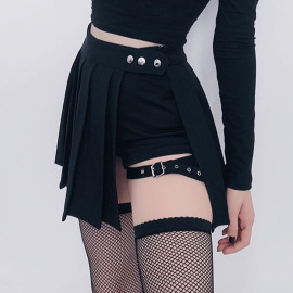 Fake Two-piece Irregularly Adjusted Buckle Pleated Fake Skirt Shorts Nihaostyles Wholesale Clothing Vendor NSSSN75479