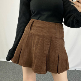 Corduroy High Waist Thin Solid Color Pleated Skirts Nihaostyles Wholesale Clothing Vendor NSSSN75481
