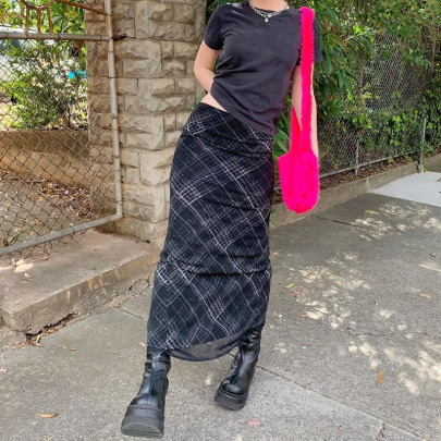 Double-layer Plaid Mesh Mid-length Skirt Nihaostyles Wholesale Clothing Vendor NSSSN75485