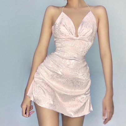 Women's Pattern Jacquard Drawstring Halter Neck Dress Nihaostyles Clothing Wholesale NSSSN75504
