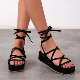 Platform Sandals With Cross Straps Nihaostyles Clothing Wholesale NSYUS75808